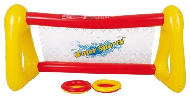 """51"""" Red And Yellow Inflatable Swimming Pool Frisbee Game Set."""