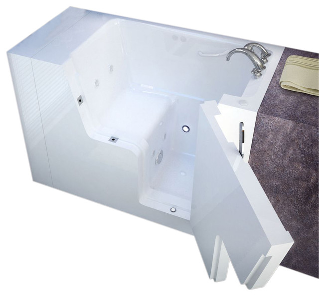 Meditub 29x53 Right Drain Whirlpool And Air Jetted Wheelchair Accessible Bathtub.