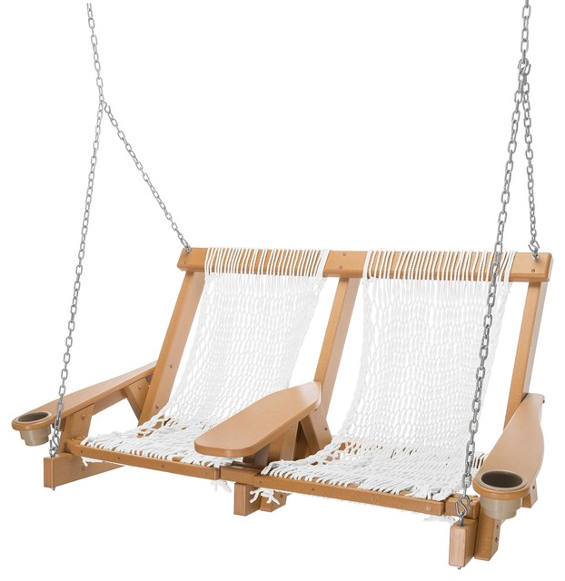 Pawleys Island Durawood Coastal Cedar Double White Polyester Rope Swing