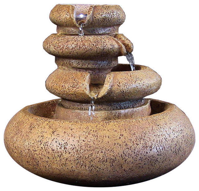 Sunnydaze Three Tier Flowing Tabletop Fountain With Led Lights