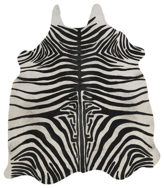 Rosario Zebra Print Cowhide Area Rug