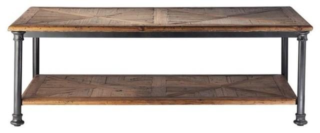 Tavolo basso in legno riciclato e metallo l 135 cm fontainebleau industriale tavolini da - Ristrutturare tavolo in legno ...