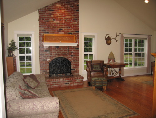how to tone down dated fireplaces