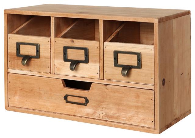 4 Drawer Wooden Desktop Organizer