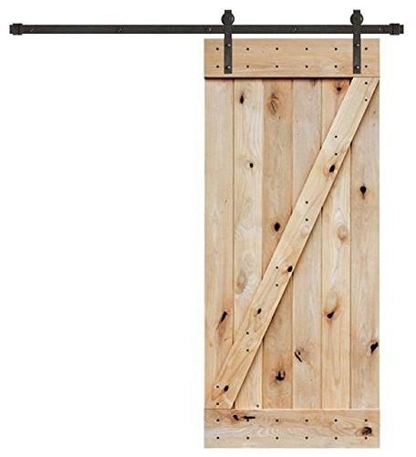 Tms 6 6ft Dark Coffee Sliding Barn Door Hardware Set W 36 Wide Wooden Slab Transitional By 4easy Inc