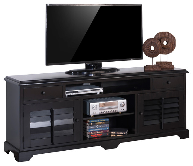 """Black Tv Console With Shutters, 78""""."""