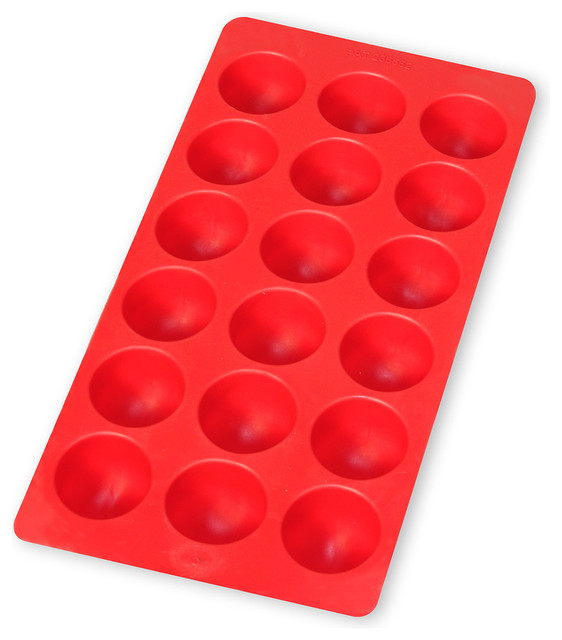 Lekue Round Shapes Silicone Ice Cube Tray, Red