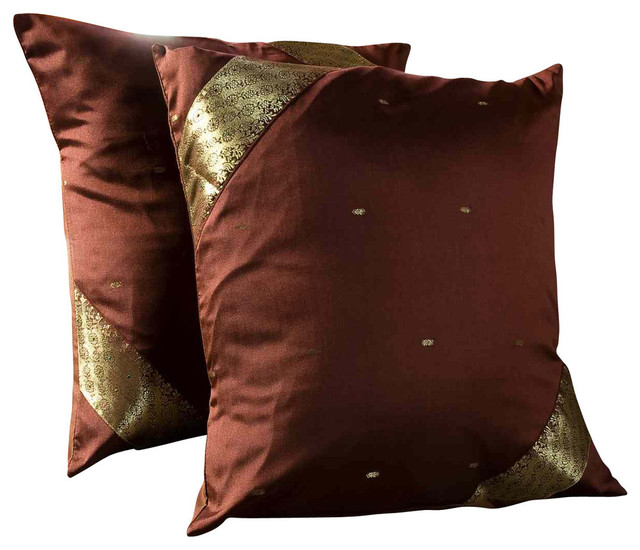 Traditional Pillow Size : Brown-Decorative Handcrafted Cushion Cover, Throw Pillow Case Euro Sham-6 Sizes - Traditional ...