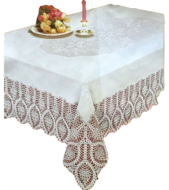 Pleasing New Crochet Lace Vinyl Tablecloth White 54 Wide X 72 Long Andrewgaddart Wooden Chair Designs For Living Room Andrewgaddartcom