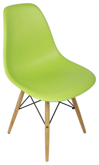 4 X Dsw Lime Green Mid Century Modern Dining Shell Chair W Wood Eiffel Legs Midcentury Chairs By Emodern Decor