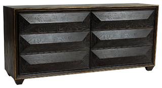 Byrne Angled Black Limed Oak Gold Tip Dresser