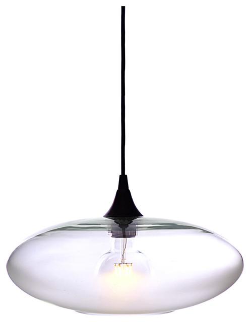 Atmospheric Pendant Light No. 952, Clear, Matte Black Hardware.