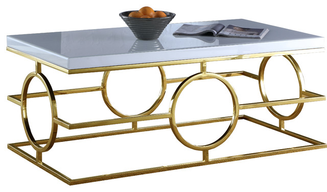 Brooke Chrome Coffee Table, Gold Base And White Glass Top.