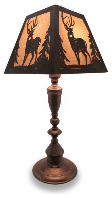Rustic Finish Metal Lamp With Matching Deer Silhouette Shade Rustic Table  Lamps