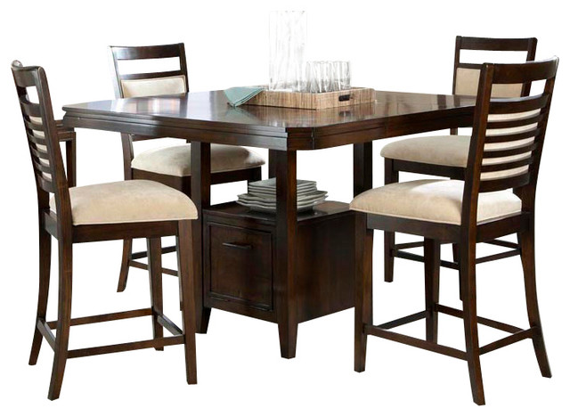 standard furniture avion 5-piece counter dining room set in cherry