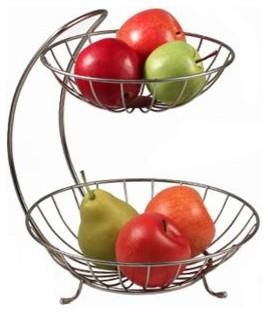 Black Wire Open Design 2-Tier Fruit Server Bowl - Modern - Fruit Bowls And Baskets - by HoldNStorage