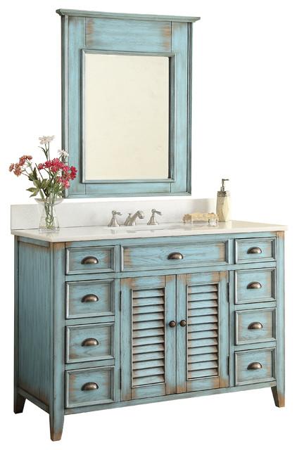 "47"" Benton Distressed Blue Abbeville Vanity, With Backsplash and Mirror"