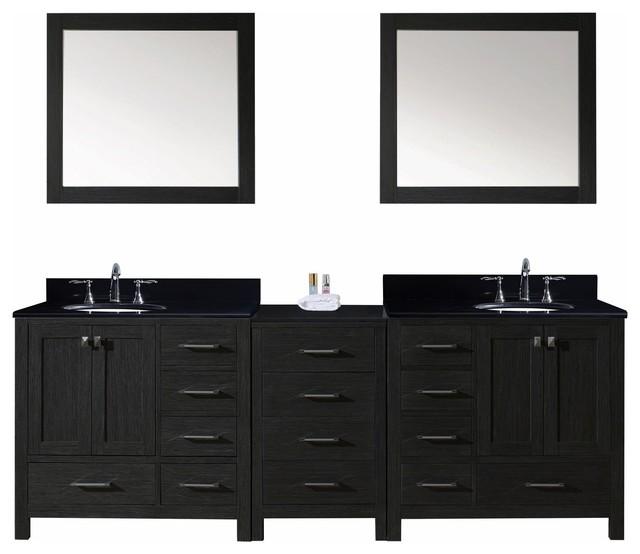 Virtu Usa Caroline Premium 92 Double Bathroom Vanity In Zebra Gray