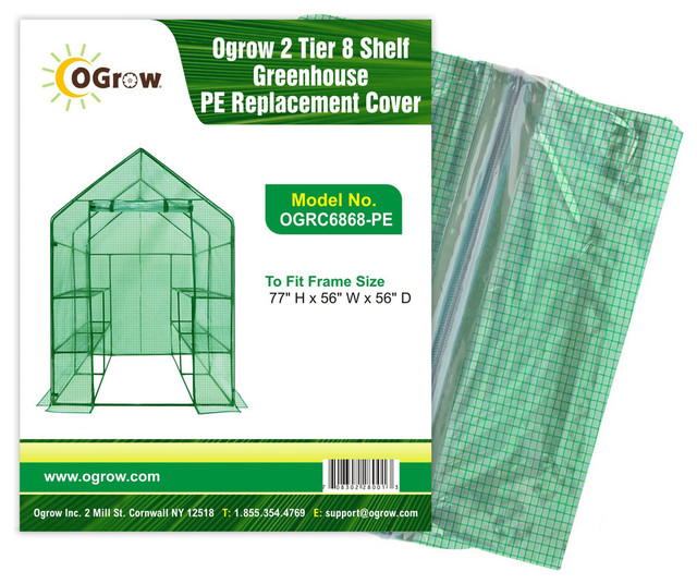 2-Tier 8-Shelf Greenhouse Pe Replacement Cover.