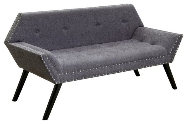 Furniture Of America Sondra Tufted Fabric Bench, Gray.