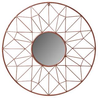 Kate and Laurel Renata Geometric Dimensional Metal Wall Mirror, Rose Gold