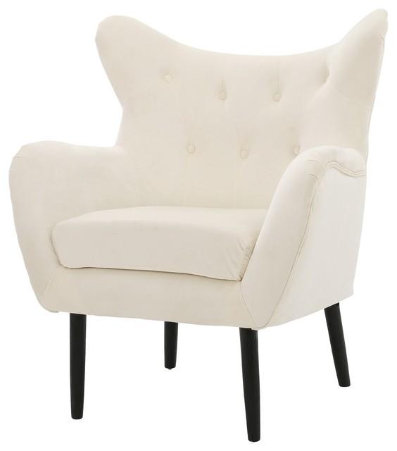 Kotop Light Gray New Velvet Wingback Arm Chair