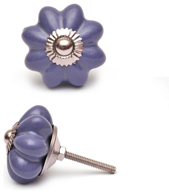 Ceramic Knobs, Purple Flower, Set Of 2 Cabinet And Drawer Knobs
