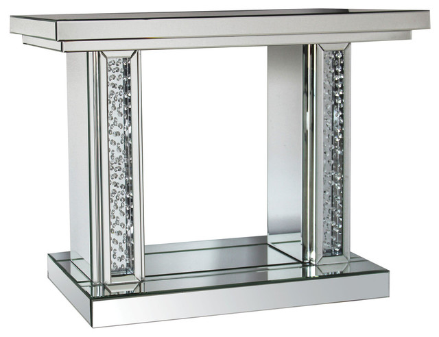 Acme Nysa Console Table Mirrored And Faux Crystals