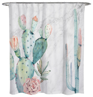 OliverGal Marble And Succulents Shower Curtain 71x74