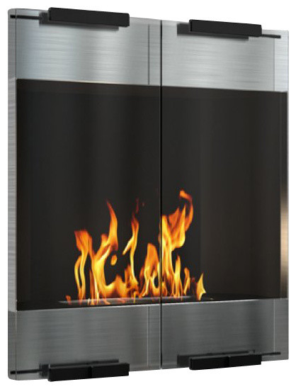 City modern ventless ethanol wall mounted fireplace for Contemporary ventless fireplace