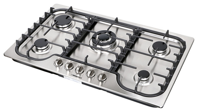 Euro Style 34 Stainless Steel 5 Burner Built In Stoves Gas Cooktop Fixed Cooker