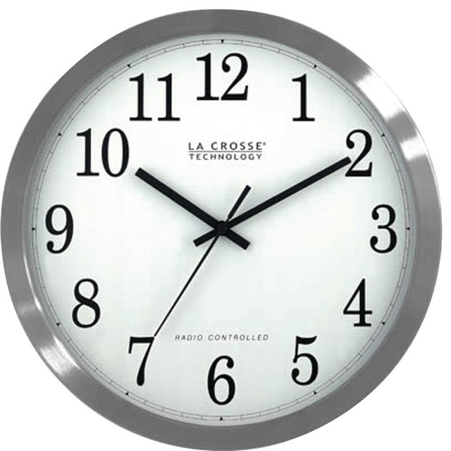 la crosse technology 12 inch atomic analog clock in stainless steel finish view in your room. Black Bedroom Furniture Sets. Home Design Ideas