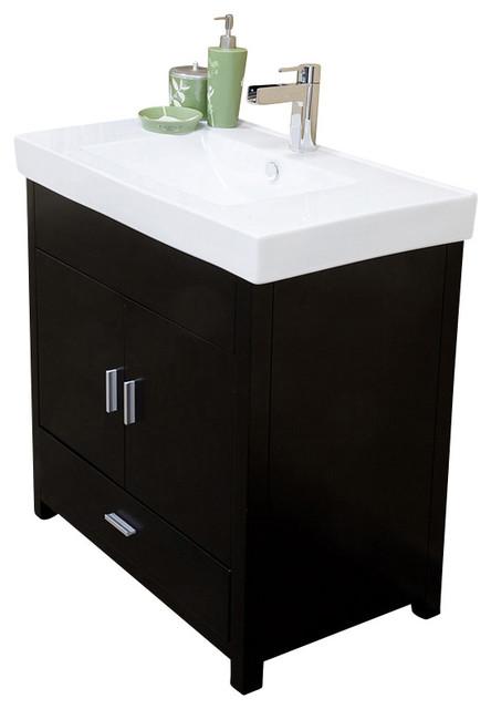 31.5 Inch Single Sink Vanity-Wood-Black.