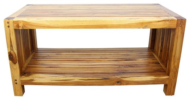 Farmed Teak Sustainable Slat End Table With Shelf, Oak Oil Finish, 16x36.