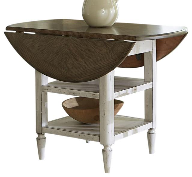 Liberty Furniture Oak Hill Drop Leaf Table, Tan Smoke/White  Farmhouse Folding