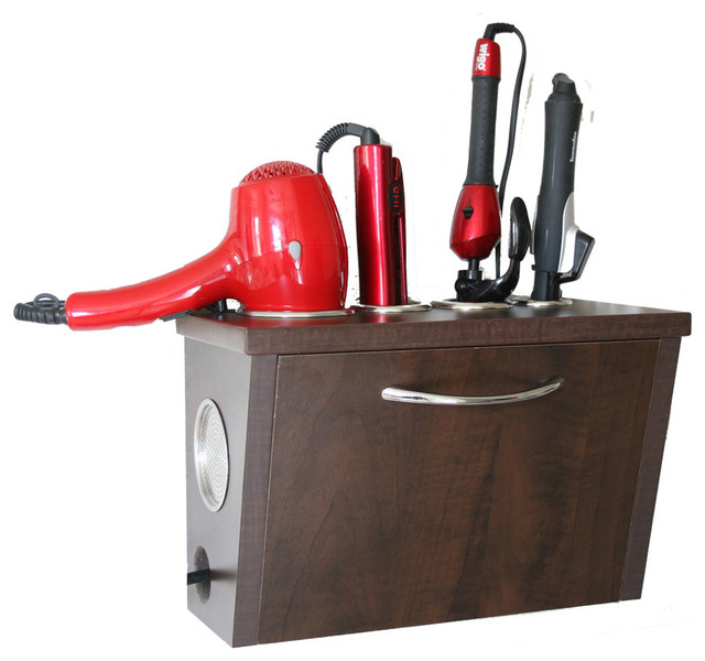 Wall Mount Curling Iron Blow Dryer And Flat Iron Holder
