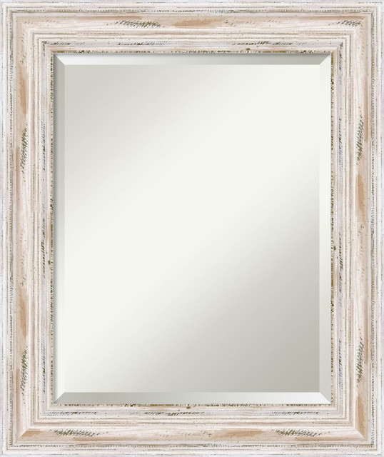 "Bathroom Mirror, Medium, Alexandria Whitewash, 21""x25""."