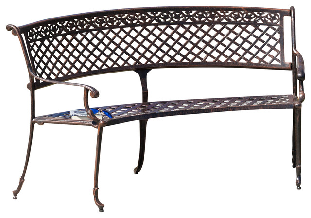 Bainbridge Outdoor Antique Copper Cast Aluminum Bench Traditional Outdoor Benches By Gdfstudio