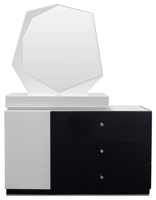 Modern White and Black Dresser and Mirror, 2-Piece Set