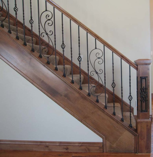 Wood Railing With Wrought Iron Baers Traditional Staircase