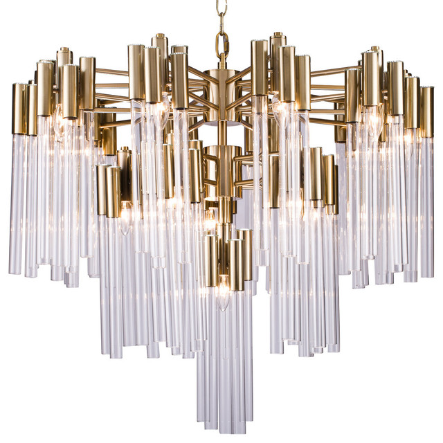 3-Tier Clear Glass Tube Rods Chandelier, Gold