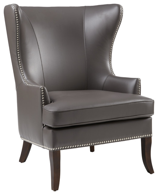 Great Royalton Armchair, Gray Leather Transitional Armchairs And Accent Chairs