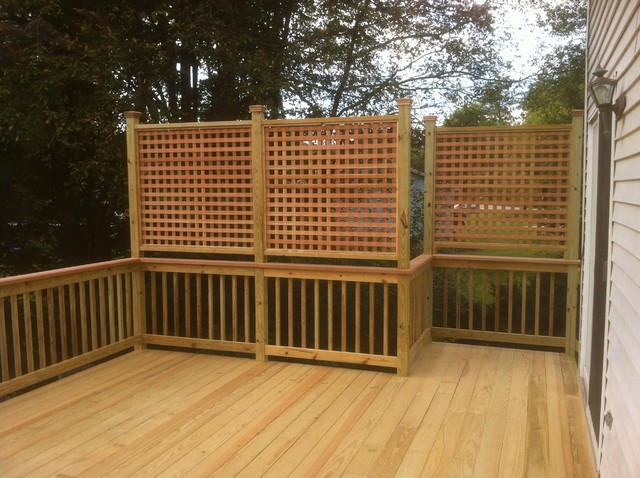 Presure Treated Deck With Cedar Cap Rail And Privacy