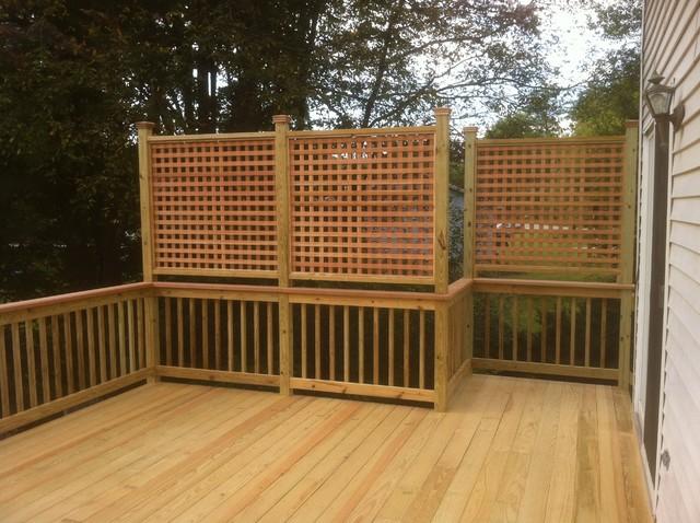 Well-known Presure treated deck with cedar cap rail and, privacy lattice  OM27