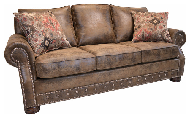 Magnus Brown Southwestern Sofa With