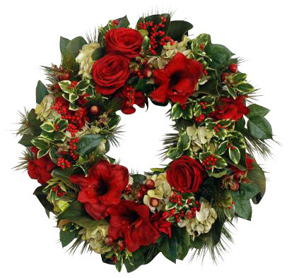 Amaryllis wreath traditional wreaths and garlands by for Amaryllis christmas decoration