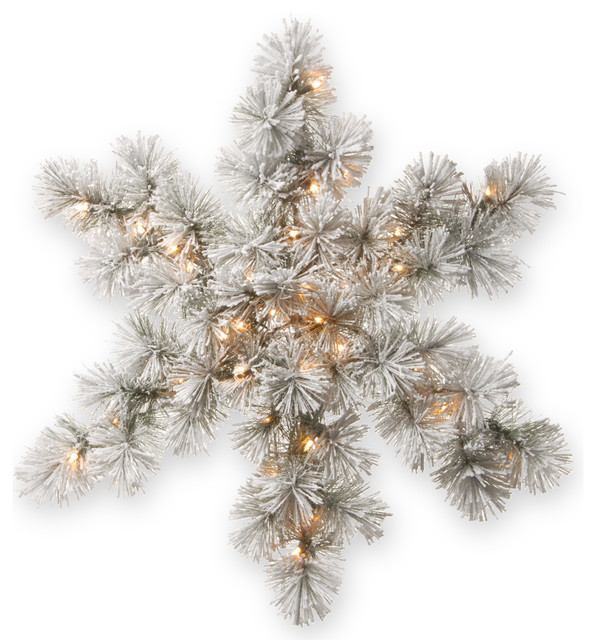 32 Snowy Bristle Pine Snowflake With Battery Operated Warm White Led Lights.