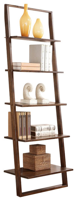 lean living leaning bookcase burnished brownstone
