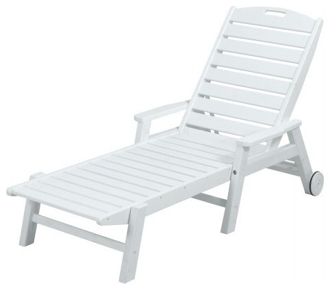 Polywood Ncw2280wh Nautical Wheeled Chaise With Arms, Stackable, White.