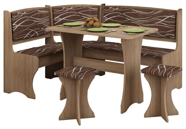 breakfast kitchen nook table set l shaped storage bench with 2 stools transitional dining. Black Bedroom Furniture Sets. Home Design Ideas